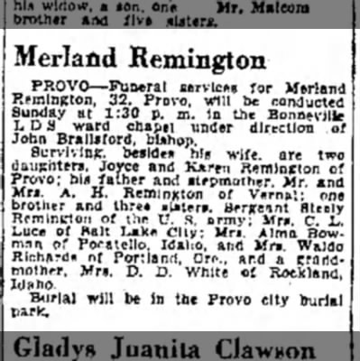 1943 Merland Remington OBIT