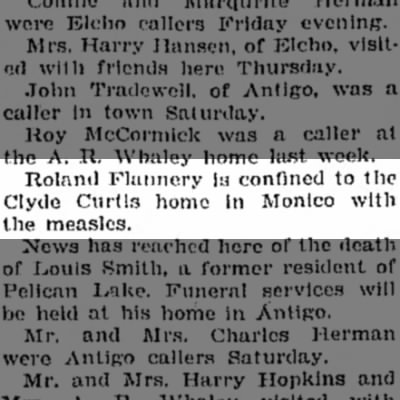 Ronald Flannery is confined to the Clyde Curtis home in Monico with the measles