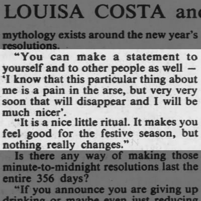 Resolutions do nothing more than make you feel a little better, says Jim Jupp. 1987
