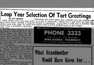 A selection of tart greetings and sour sayings in NC, 1952.
