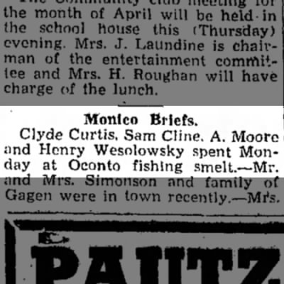 Monico Briefs; Clyde Curtis and others spend day at Oconto fishing smelt