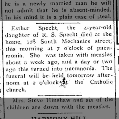 Esther Specht Death Notice