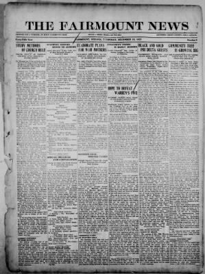 The Fairmount News from Fairmount, Indiana on December 15, 1921 · Page 1
