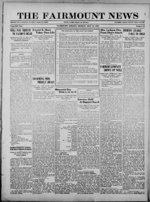 The Fairmount News from Fairmount, Indiana on May 29, 1922 · Page 1