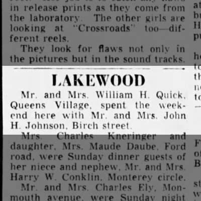Mr. & Mrs. William H. Quick spent weekend w/ Mr. & Mrs. John H. Johnson- Lakewood