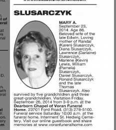 obit for mary a slusarczyk - Santeiu Funeral Home Garden City Michigan