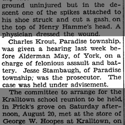Charles Krout assault hearing-Aug 1932