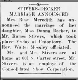 Stivers - Decker marriage, The Tribune, Seymour, Indiana, 01 Aug 1936, pg 3