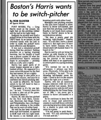Boston's Harris wants to be switch-pitcher 1987