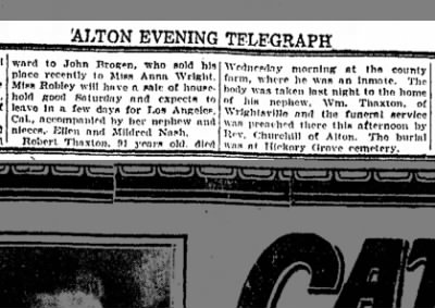 Robert Thaxton, Alton (Ill.) Evening Telegraph, 9-17-26
