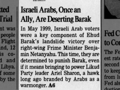 Israeli Arabs desert Ehud Barak 2-01-01