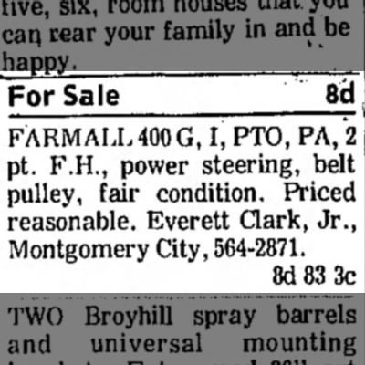 For Sale; Farmall 400 G; Everett Clark, Jr.