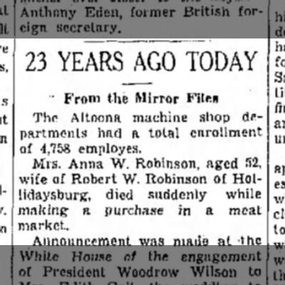 Anna W Robinson wife of Robert W Robinson