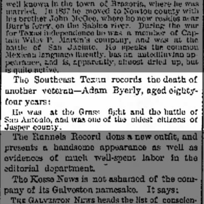 Adam Byerly death - The Galveston Daily News, 19 April 1883, page 2