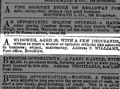 Widower seeks widow or spinster