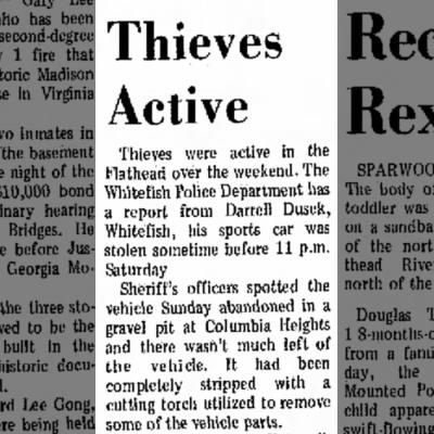 Darrel Dusek's sports car was stolen, (July 10,1972), Daily Inter Lake