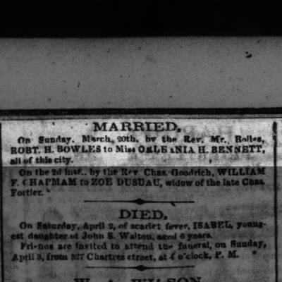 RH Bowles marriage to Orleania H Bennett, Sunday March 20 1859