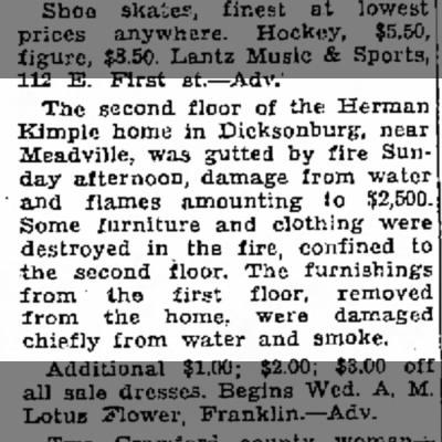 Kimple house fire.