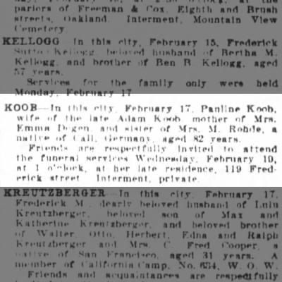 Koob obituarySF Chronicle 19130219