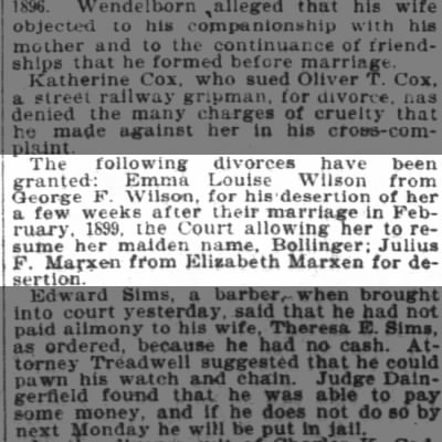 Julius Marxen divorce