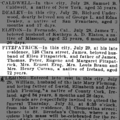 James Fitzpatrick Obituary 30 July 1902 SF Chronicle