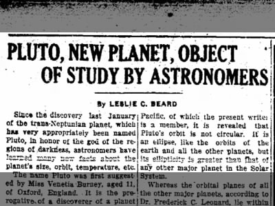 Pluto, New Planet, Object of Study