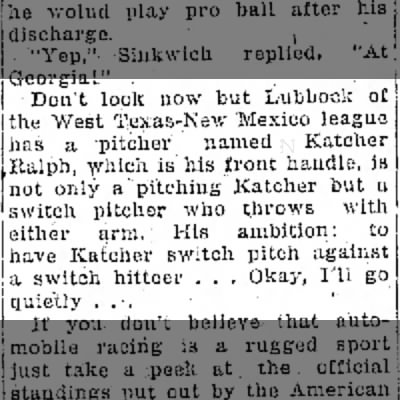 Switch Pitcher - Katcher Ralph 1948