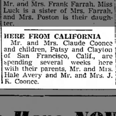 """Here From California,"" Mexico (Missouri) Ledger, 3 July 1947, p. 4, col. 3."