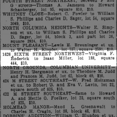Isaac Miller purchase of 1626 Sixth Street NW for $10, Wash Post 5/8/1914
