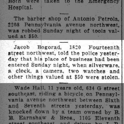 Jacob Bogorad's store robbed, 5/18/1915.  Wash Post