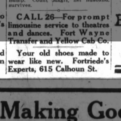 Fortriede Shoes, the Ft. Wayne Journal-Gazette, Wed. Nov. 26, 1919 p.6
