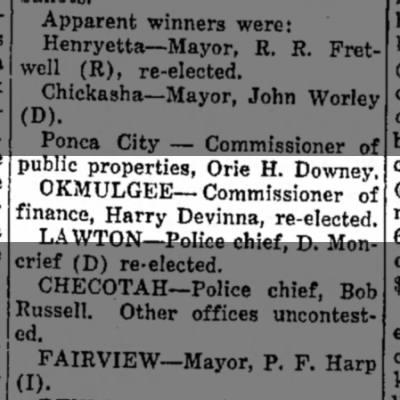 Harry Devinna, commissioner of finance, Okmulgee. Miami Daily News-Record (Miami, OK) 7 April 1937