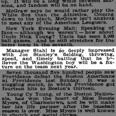Article in The Washington Post 4 Oct 1905 page 29-Baseball Gossip