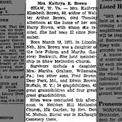 Kathryn Beckwith Brown obit