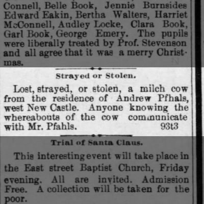 Andrew Pfhals lost cowNew Castle News27 Dec 1893 page 1