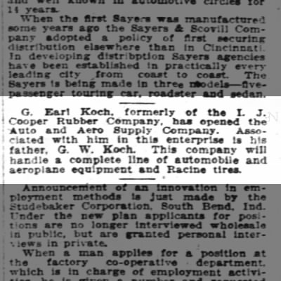1920-05-09 Koch, G Earl opens Auto and Aero with father GW Koch