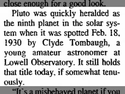 Pluto spotted Feb 18 1930