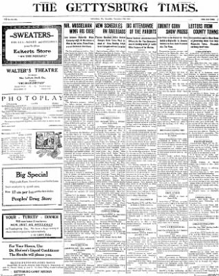 The Gettysburg Times from Gettysburg, Pennsylvania on November 15, 1913 · Page 1