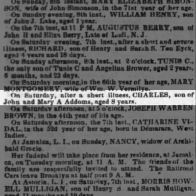 obit of Charles Addoms, son of John & Mary Addoms, age 8 - maybe this is Adams