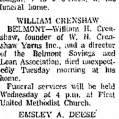 Obituary for my step grandfather William Crenshaw