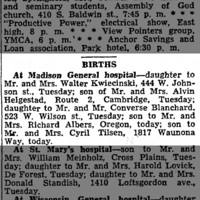 Tilsen Ronald birth announcement Capital Times Madison WI – Madison Birth Announcements