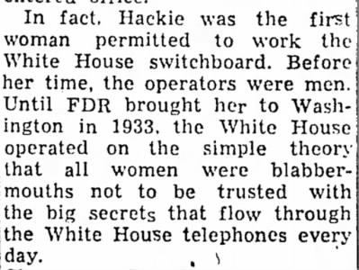 Hackie first woman to work the White House switchboard