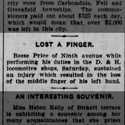 1902-07-28 Reese Price looses finger