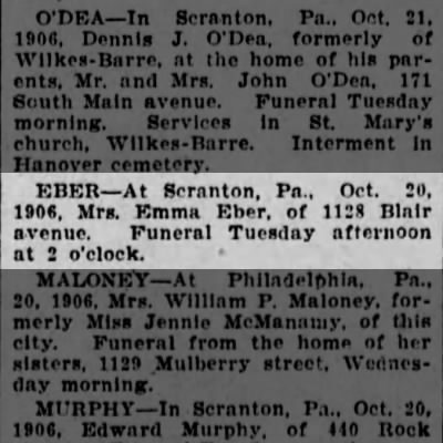 Emma Lowenstein-Eber Obit