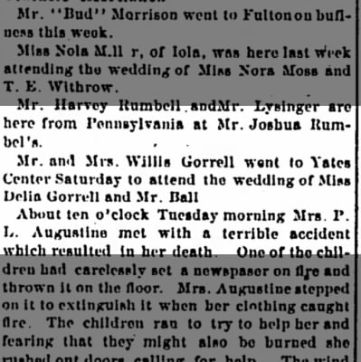 Mention of Delia Gorrell and Mr. Ball wedding Iola Register 13 March 1891 Page 4