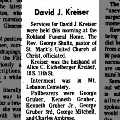 Kreiser David J. husband of Alice Catherine Eichelberger obituary 17 Apr 1976 LDN