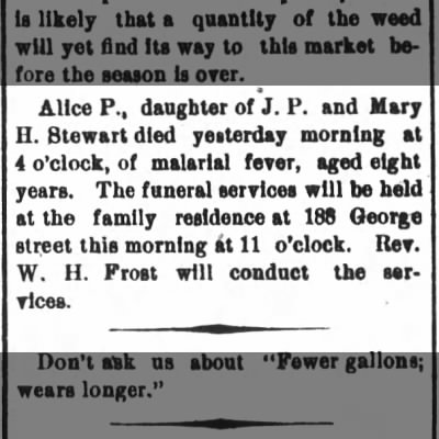 Craven Co, New Bern, NC, 20 Nov 1902, Alice P. Stewart, d. of J. P. & Mary H. Stewart.