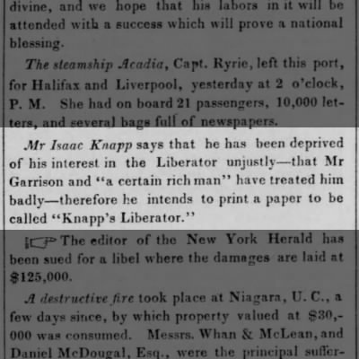Mr Isaac Knapp says that he has been deprived of his interest in the Liberator unjustly