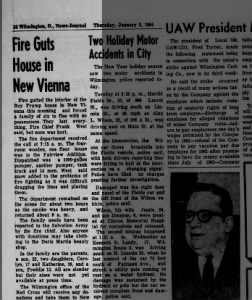 1964 Fire guts New Vienna house -Jan.2