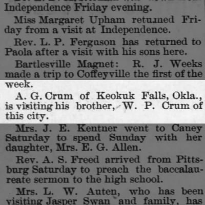 The Coffeyville Daily Journal (Coffeyville, KS)  28 Apr 1900  pg 3
